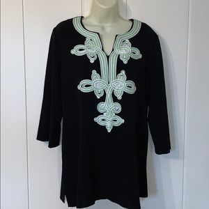 Ming Wang black tunic with lovely ribbon design